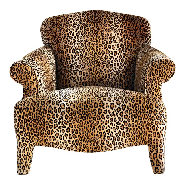 1980s Hollywood Regency Cheetah Roll Arm Chair For Sale