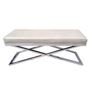 Chrome and Shagreen Embossed Leather Ottoman or Bench For Sale