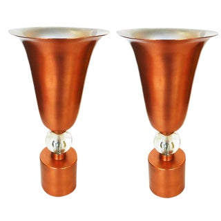 Copper Mid-Century Torchiere Table Lamps, Pair For Sale