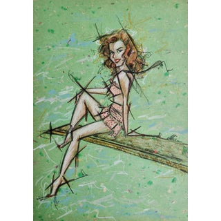 Contemporary Portrait of Marilyn Monroe in Polka Dotted Swimsuit Work on Paper by Shirin Godhrawala For Sale