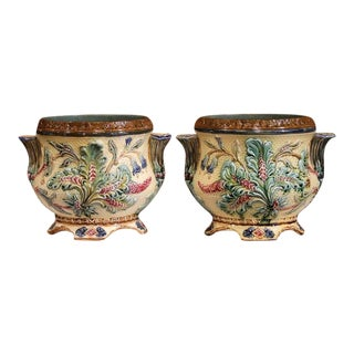 Pair of 19th Century French Hand-Painted Barbotine Cachepots With Foliage Motifs