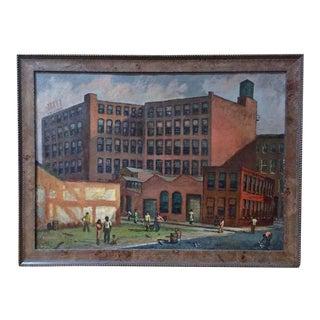 Chicago Street Scene Oil Painting 'Signed'