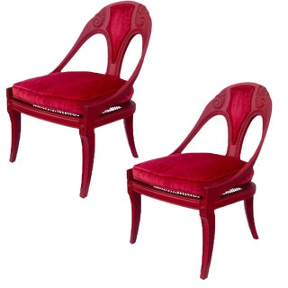 Final Markdown Hollywood Regency Michael Taylor for Baker Furniture Spoon Back Chairs - a Pair For Sale