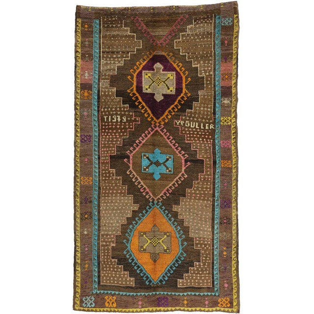 """Mid 20th Century Vintage Turkish Oushak Wool Gallery Runner Rug - 6'2"""" X 11'4"""" For Sale - Image 5 of 5"""