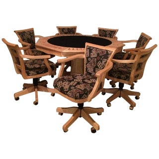 Fabulous Two-Sided Maple Game Table With Matching Adjustable Chairs For Sale