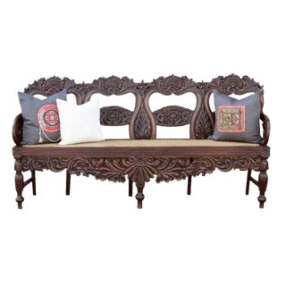 19th Century Anglo Indian Rosewood Settee For Sale