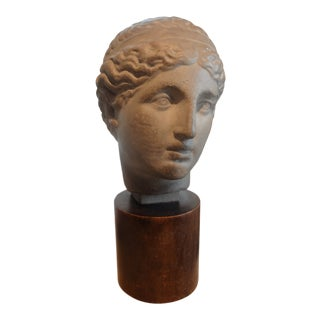 1920s Vintage French Terra Cotta Bust on Wood Base Sculpture For Sale