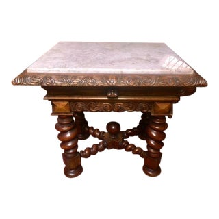 Late 19th Century Antique Portuguese Carved Side Table For Sale