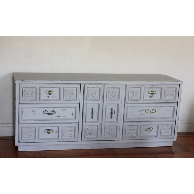 Carved Wood Detailed Gray Dresser - Image 2 of 11
