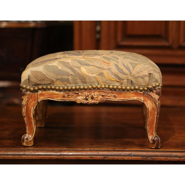 Metal 19th Century French Louis XV Carved Gilt Walnut Footstool With Aubusson Tapestry For Sale - Image 7 of 9