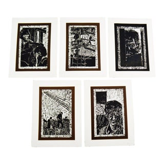 Vintage Elaine Hudson Hamilton Artist Proof Woodcut Etchings - Group of 5 For Sale