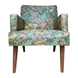 Mid-Century Floral Vinyl & Walnut Lounge Chair