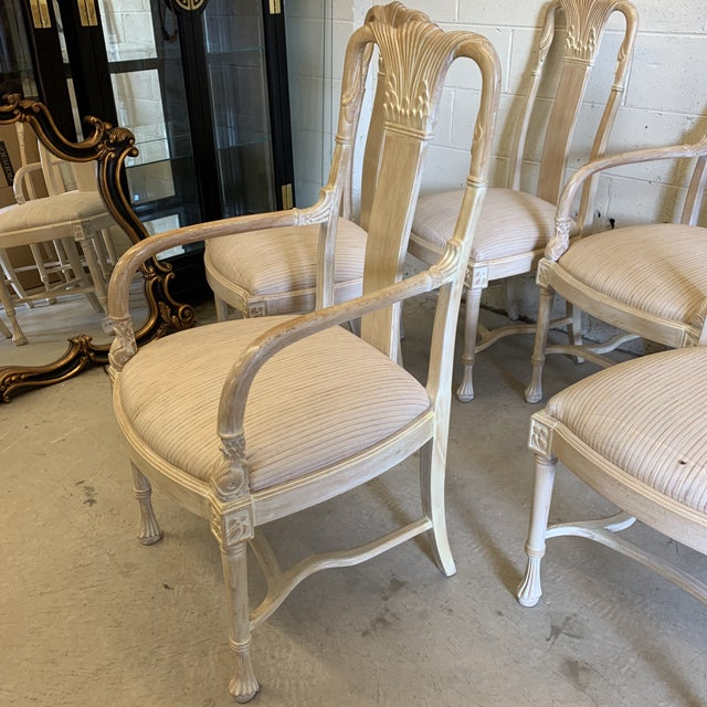Bleached Wood Hand Carved Dining Chair's-A Set of 6 For Sale - Image 11 of 13