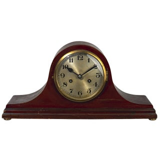 Tambour Style Wood Mantle Clock For Sale