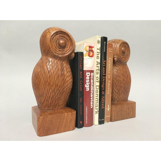 Hand Carved Wood Owl Bookends - a Pair For Sale In New York - Image 6 of 7