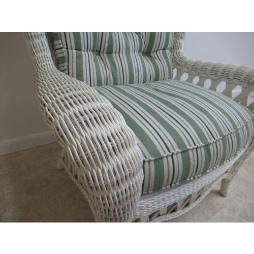 Wicker Vintage Custom Wicker Patio Porch Living Room Lounge Chair For Sale - Image 7 of 13