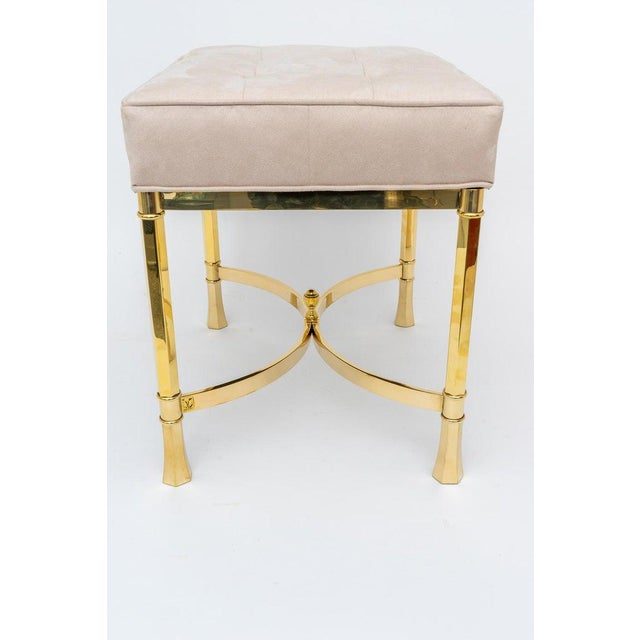 Modern Vintage Mastercraft Benches Stools Brass and Ultrasuede - a Pair For Sale - Image 3 of 13