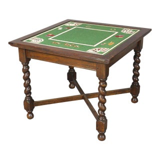 Mid-20th Century Needlepoint Card Table For Sale