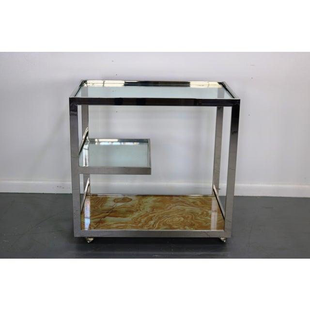 Mid-Century Chrome Glass & Onyx Bar Cart - Image 2 of 8