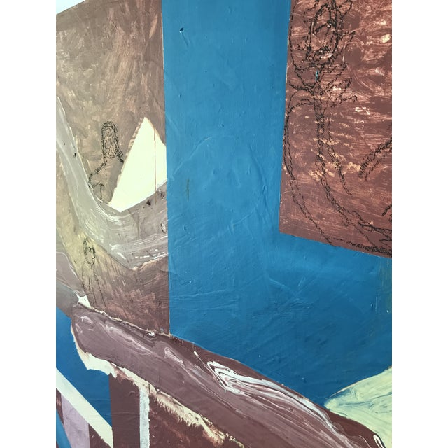 Mid Century Modern Large Original Abstract Oil Painting on Canvas For Sale - Image 10 of 11