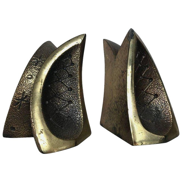 Modernist Brass Sculptural Bookends by Ben Seibel for Jenfredware, Raymor, Pair For Sale