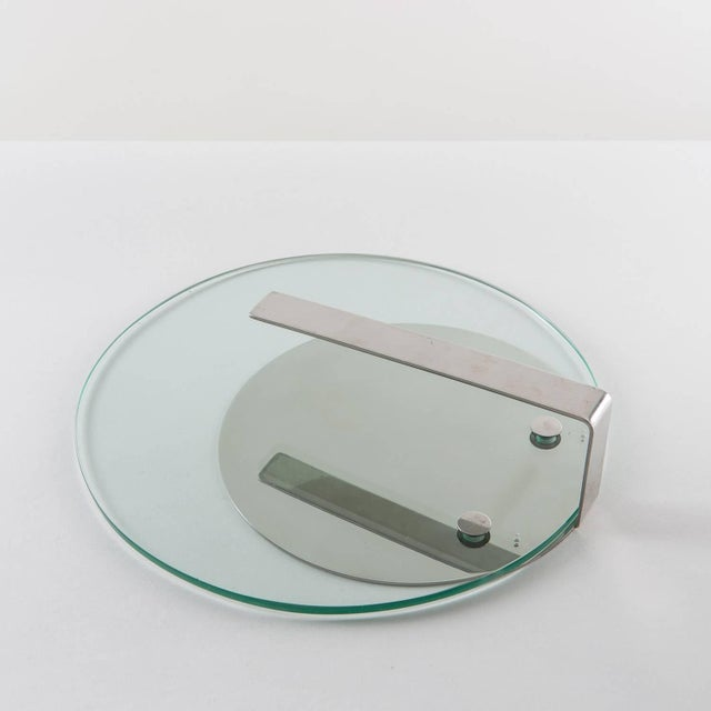 Rare set of two steel and glass desk accessories by Sergio Mazza and Giuliana Gramigna for Krupp. The size refers to the...