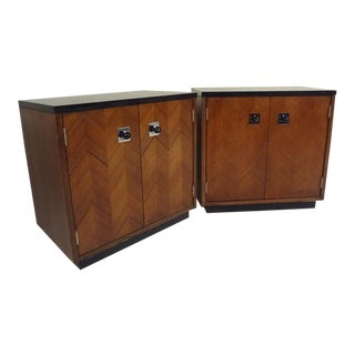 Vintage Walnut End Table Cabinets - a Pair For Sale