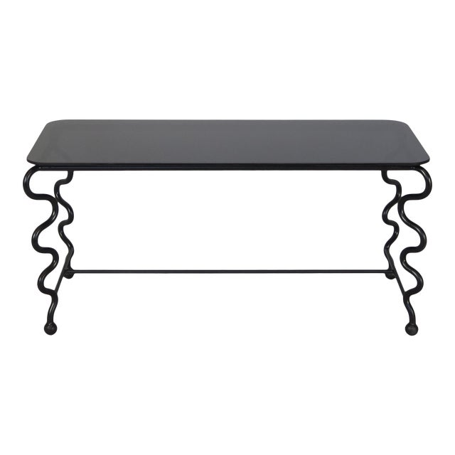 'Serpentine' Coffee Table With Black Glass Top For Sale
