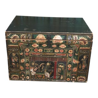 Antique Early 20th Century Chinese Floral Trunk