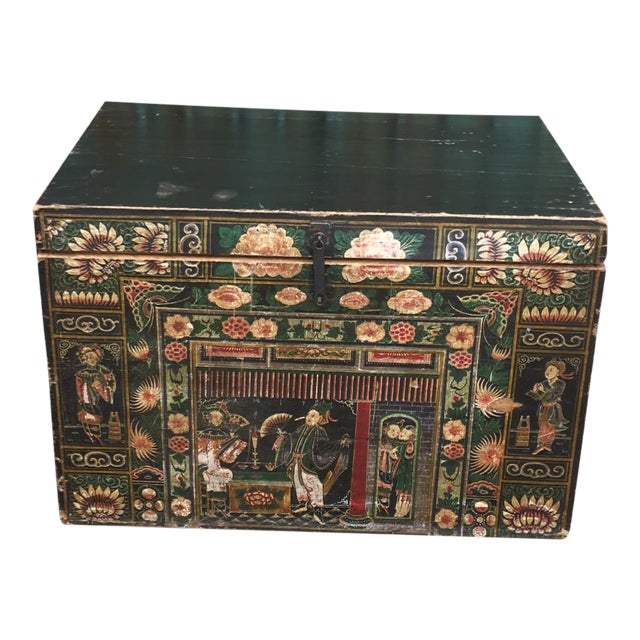 Antique Early 20th Century Chinese Floral Trunk For Sale