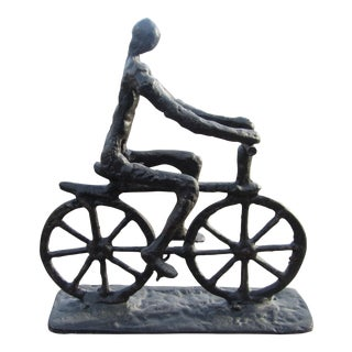 Modern Abstract Cast Iron Bicycle Rider