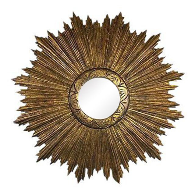 French Wood Sunburst Mirror - Image 1 of 4