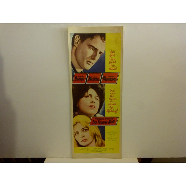 """A vintage movie poster. """"The Fugitive Kind"""". Starring Marlon Brando. Screenplay by Tennessee williams. Copyright 1960...."""