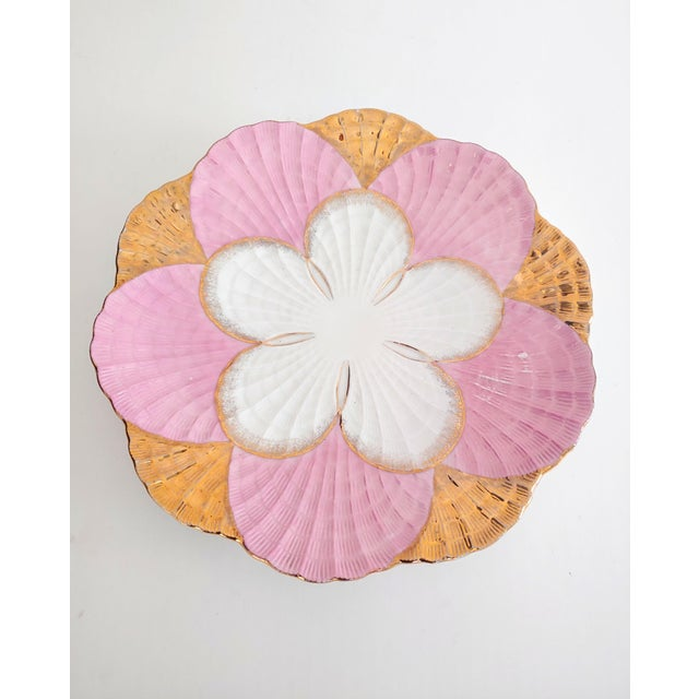 1940s Pink and Gold Scalloped Edge Shell Plate For Sale - Image 4 of 7