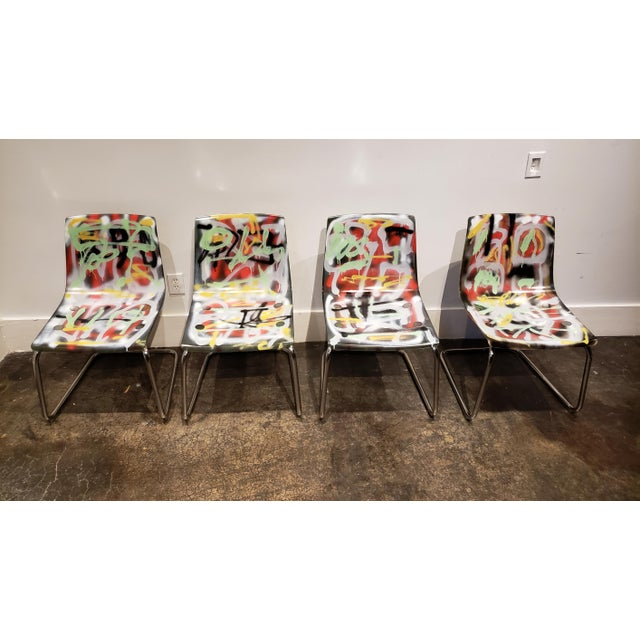 Postmodern Graffitied Carl Ojerstam Chairs Painted by Artist Lionel Lamy For Sale - Image 3 of 9