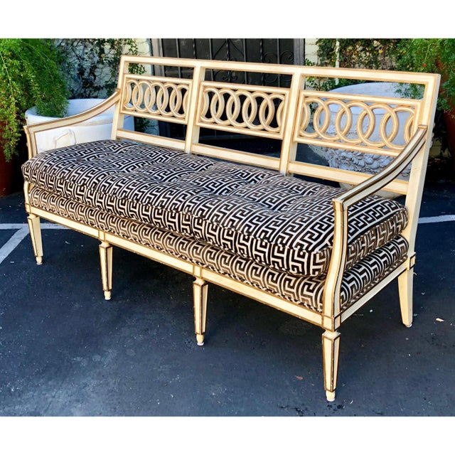Gold Spectacular Hollywood Regency Style Sofa Settee W Greek Key Cut Velvet For Sale - Image 8 of 8