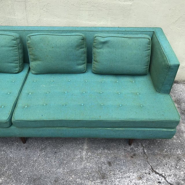 Blue Edward Wormley 4907a Sofa for Dunbar With Knoll Fabric & Rosewood Legs For Sale - Image 8 of 13