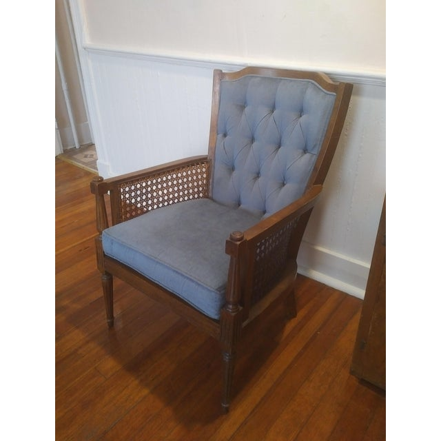 Mid-Century Wingback Blue Upholstered Caned/Cane Chair For Sale - Image 4 of 10