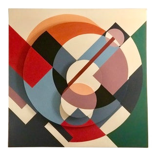 Large 1980s 3-D Hard Edge Painting on Canvas For Sale