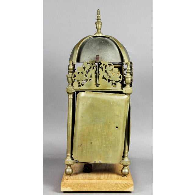 Gold William and Mary Brass Lantern Clock by John Drew, London For Sale - Image 8 of 10