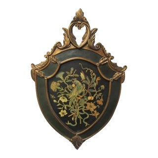 Early 20th Century Style French Painted Wall Hanging Shield With Bird Crest For Sale