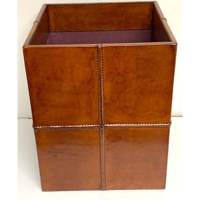 French modern stitched leather cube wastepaper basket, this is an original vintage model.