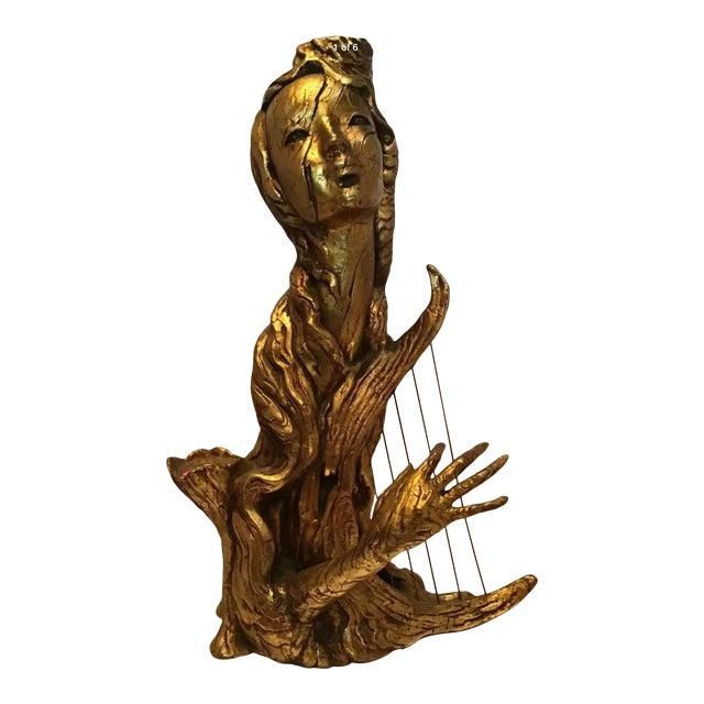 Mid Century Regency Arc Pixie Gold Nymph Statue For Sale