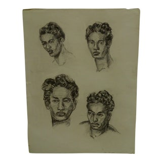 "1952 Mid-Century Modern Original Drawing on Paper, ""4 Faces of Jeremy"" by Tom Sturges Jr For Sale"