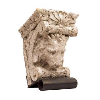 Glazed Pottery Lion Corbel on Custom Steel Stand For Sale