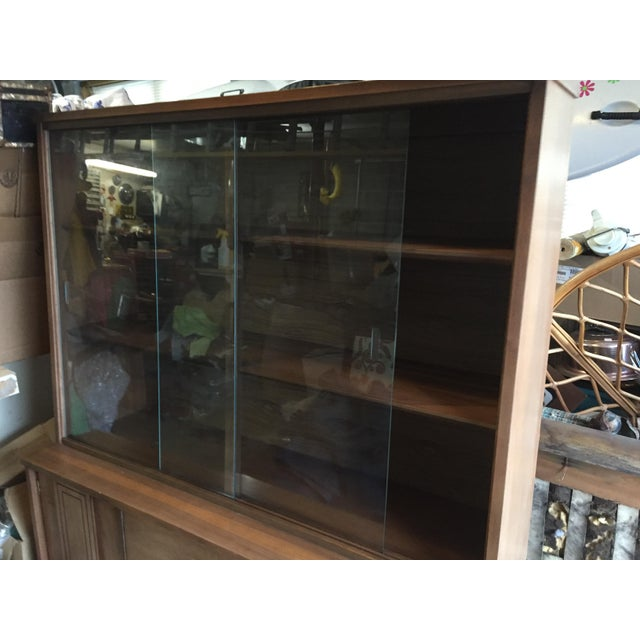 Brass 1960s Scandinavian Modern Stanley Walnut China Hutch With Glass Doors For Sale - Image 7 of 9
