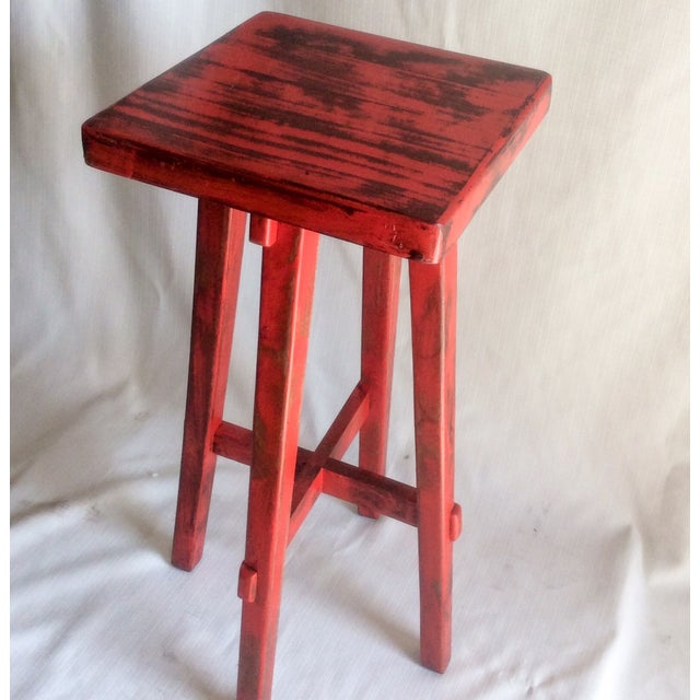 Hand Made Distressed Red Square Bar Stool - Image 2 of 9