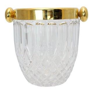 Vintage Hollywood Regency Cut Crystal Ice Bucket For Sale