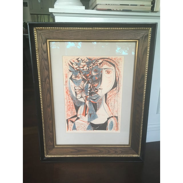 Vintage Mid-Century Richard Zoellner Abstract Woman Flower Lithograph Print For Sale - Image 4 of 13