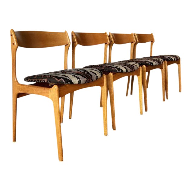 Mid-Century Upholstered Teak Chairs - Set of 4 For Sale